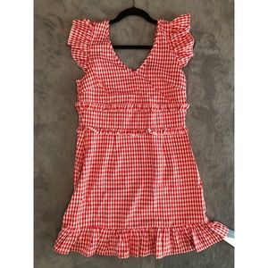 Country girl red check dress